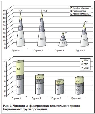 Рис. 3. Частота инфицирования генитального тракта беременных групп сравнения