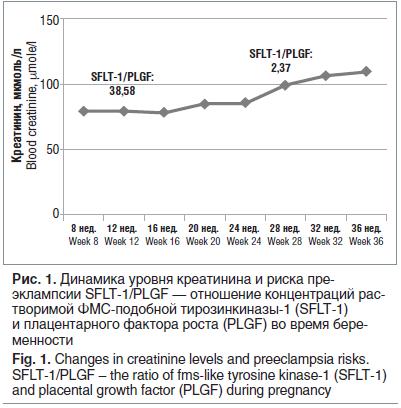Рис. 1. Динамика уровня креатинина и риска преэклампсии SFLT-1/PLGF — отношение концентраций растворимой ФМС-подобной тирозинкиназы-1 (SFLT-1) и плацентарного фактора роста (PLGF) во время беременности Fig. 1. Changes in creatinine levels and preeclampsia