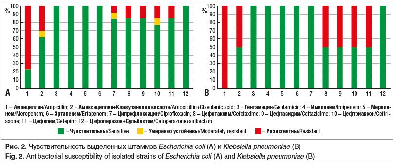 Рис. 2. Чувствительность выделенных штаммов Escherichia coli (A) и Klebsiella pneumoniae (В)