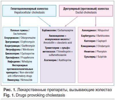 Рис. 1. Лекарственные препараты, вызывающие холестаз Fig. 1. Drugs provoking cholestasis