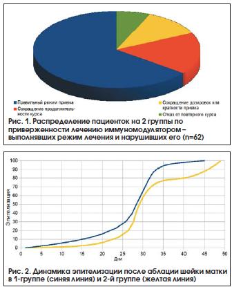 Рис. 1. Распределение пациенток на 2 группы по приверженности лечению иммуномодулятором – выполнявших режим лечения и нарушивших его (n=62)