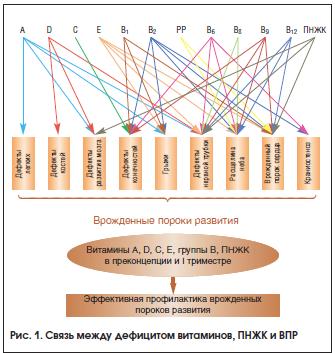 Рис. 1. Связь между дефицитом витаминов, ПНЖК и ВПР